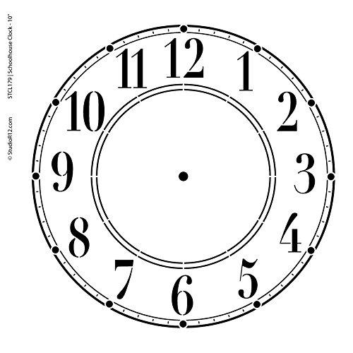 Schoolhouse Clock Stencil - 10 inch Clock by Studio R 12