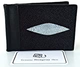 +ThaiPremiumHouse+2 EYEs CLASSY BLACK GENUINE STINGRAY LEATHER MONEY CLIP WALLET NEW