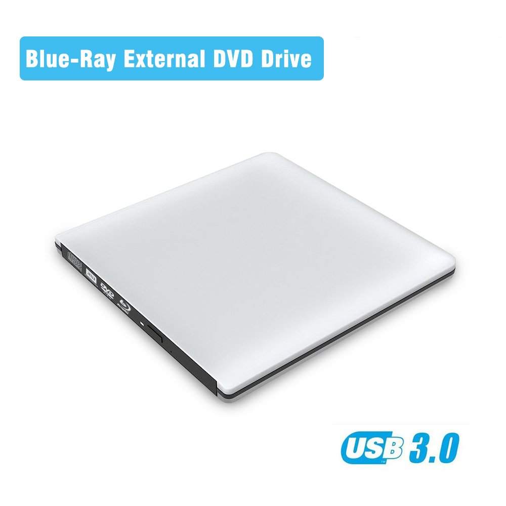 Ultrathin Blue Ray External DVD CD Drive Luminum Alloy Case Portable USB 3.0 High Data Transfer Speed Slim Optical drive Plug And Play No Need Install Driver For Win XP/vista/7/8/10 MacOS