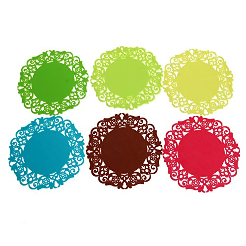 BCHZ 6 Pcs Cute Silicone Cup Mats Hollow Flower-shaped Round Drink Tea Coasters Lace Plaid New