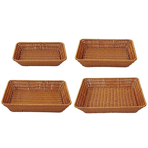 Imitation Rattan Woven Wicker Bread Basket Iron Frame Food Fruit Vegetables Serving Holder Container fit Outdoor Picnic,S M L XL 4pcs