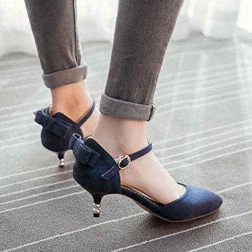 Mee Shoes Damen modern speziell bequem Kitten-Heel spitz Nubukleder ankle strap Schnalle Schleife Knöchelriemchen Pumps Blau