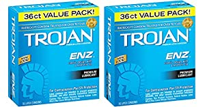 Trojan Condom ENZ YRPQF Lubricated, 36 Count (Pack of 2) fCAbk
