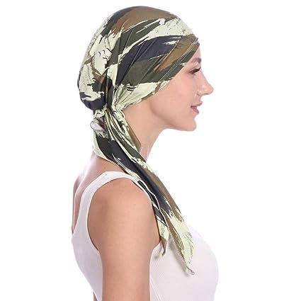 Élégant turban femelle, femme élégante foulard de chimiothérapie casquette  Beanie Sleeping Cap multi-fonctionnelles turban élastique pour la perte de  ... a868e7297be