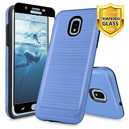 TJS Galaxy J3 2018/J3 V 2018/J337/Express Prime 3/J3 Star/J3 Orbit/J3 Achieve/J3 Prime 2/Amp Prime 3/Sol 3 Case, with [Full Coverage Tempered Glass Screen Protector] Metallic Brush Finish Case (Blue)