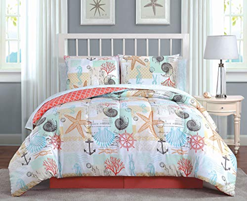 Avondale Manor Belize 8-Piece Comforter Set, Queen, Coral - Manor Comforter Set