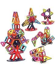Yangers magnetiska byggstenar set, 166 st magnet leksak bollar byggstenar slott hjul småbarn pedagogiska pussel alfabetet bokstäver och siffror för barn