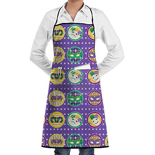 (SHUREN Mardi Gras Chef Apron For Women Bib Grill ApronBarbecue )
