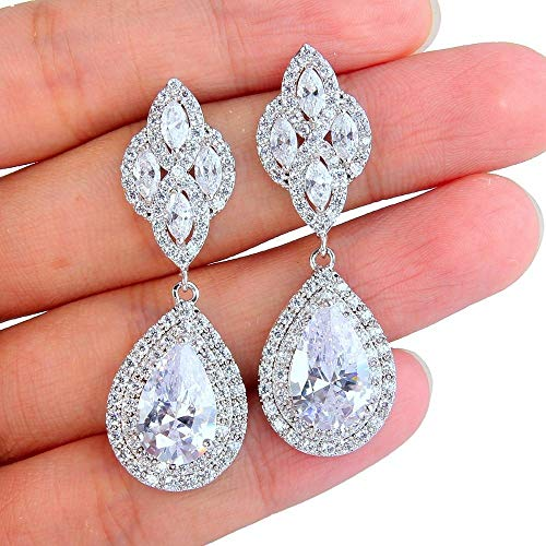 (Hazey Fashions Tuliper Floral Knot Teardrop Chandelier Bridal Earrings )