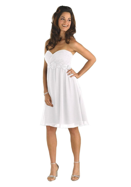 Pretty Maids 22331 Strapless Short Chiffon Formal Dress, White, 4