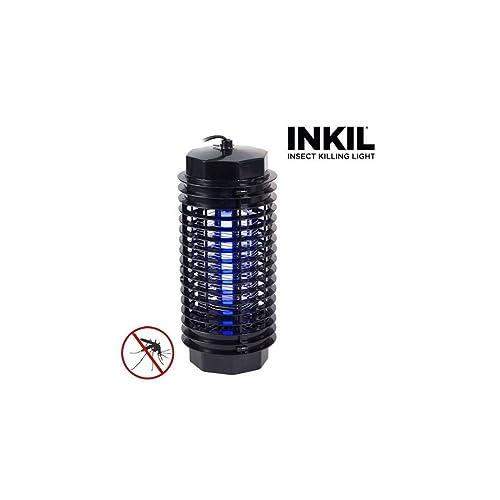 Inkil - Lámpara Antimosquitos, Eléctrico, luz UVA, Fulmina Insectos, Sin Sustancias Químicas, 32 m² (cilindro, 4 W, 220 V) Negro