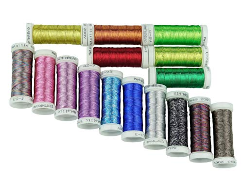 (Simthreads Metallic Embroidery Thread 200 Yards Ea for French Embroidery or Machine Embroidery for Janome Brother Pfaff Babylock Singer Bernina Husqvaran and Most Home Embroidery Machines (16 Colors))