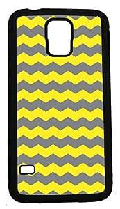 Blueberry Design Samsung Galaxy S5 Case Zigzag Wave Design Yellow and Dark Grey - Ideal Gift
