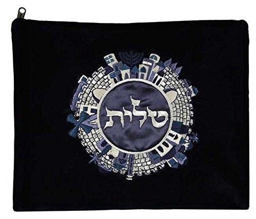 Majestic Giftware Gift Bag Tallis Jerusalem Velvet Embroidery 5, 13.5'' x 11'', Blue/Silver