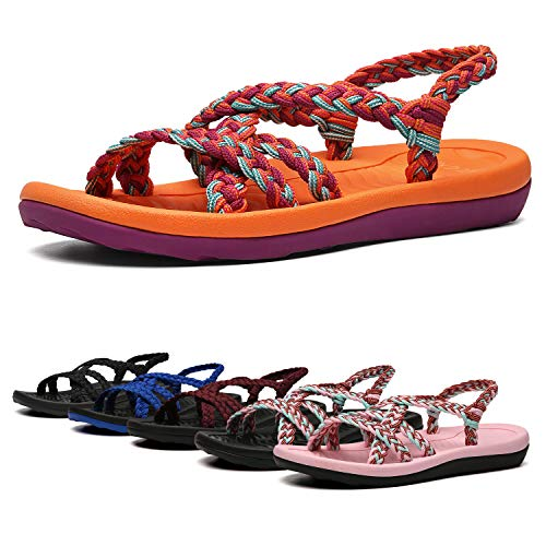 EAST LANDER Women's Comfortable Flat Walking Sandals with Arch Support Waterproof for Walking/Hiking/Travel/Wedding/Water Spot/Beach.18ZDKDEA01-W2-6 BD Orange/Purple