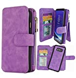 Hynice S8 Wallet case,Galaxy S8 Case PU Leather Detachable Magnetic with 14 Flip Card Holder Removable Slim Back Cover Zipper Pocket Kickstand for Samsung Galaxy S8 (14Card-Purple)