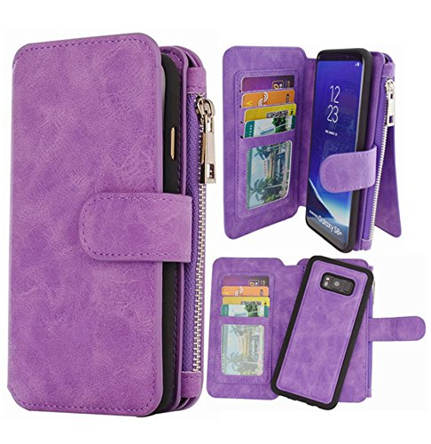 Hynice S8 Plus Wallet case,Galaxy S8 Plus Case PU Leather Detachable Magnetic with 14 Flip Card Holder Removable Slim Back Cover Zipper Pocket Kickstand for Samsung Galaxy S8 Plus (14Card-Purple)