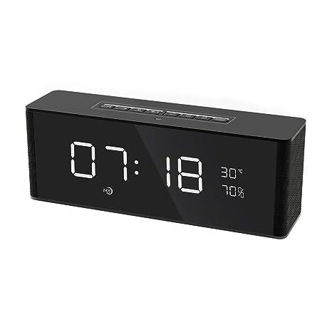 Altavoz Bluetooth Portátil, Altavoz Inalámbrico con Reloj, Radio, 2 Despertador, Micrófono,