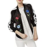 Cynthia Rowley Womens CR Embroidered Long Sleeves Bomber Jacket Black XS