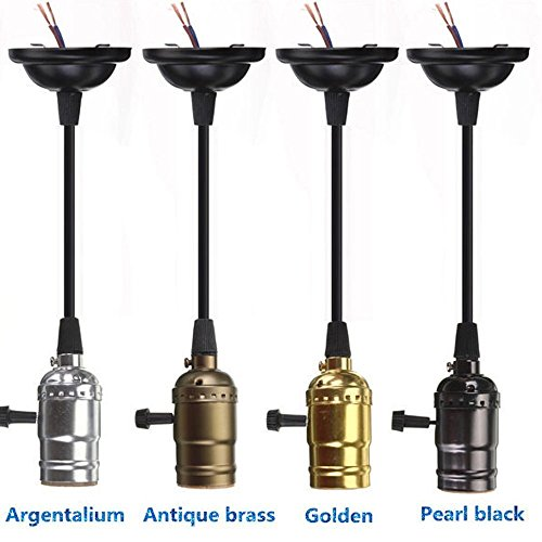 Pendant light parts amazon efinehome efine minimalist vintage retro lamp base holder pendant bulb light screw socket with switch edison black aloadofball Gallery