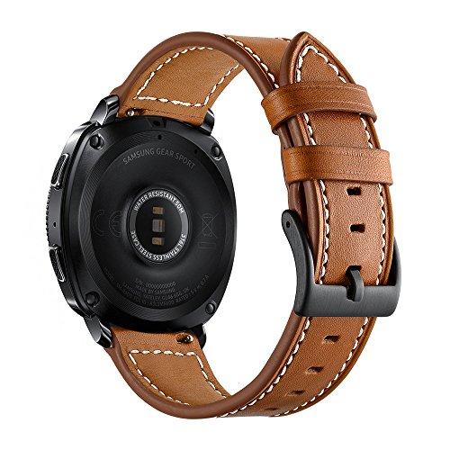 سازگار با Aottom برای Samsung Galaxy Watch 42mm Band Leather Leather 20MM بند ساعت هوشمند تعویض بند بند فلزی دستبند فلزی برای Samsung Galaxy Watch Active 40mm / Galaxy Watch 42mm / Gear Sport، Brown
