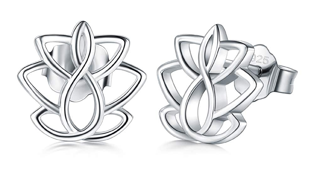 BoRuo Lotus Flower Yoga Earrings 925 Sterling Silver Earrings