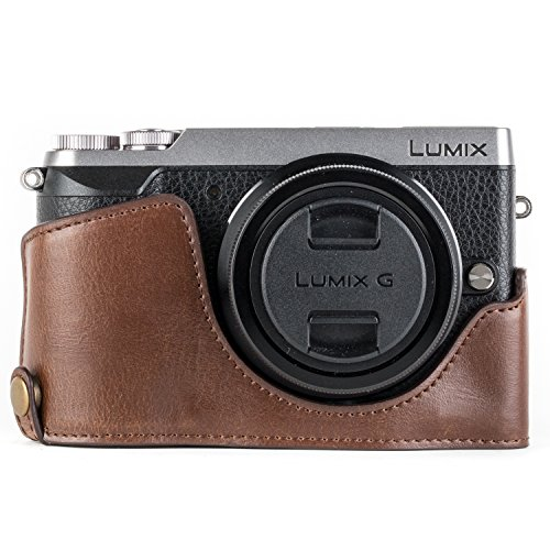 MegaGear Ever Ready Leather Camera Half Case Compatible with Panasonic Lumix DMC-GX85, GX80 – Dark Brown