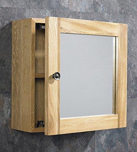Clickbasin Solid Oak Wall Mounted Single Door Bathroom Mirror Cabinet by Clickbasin