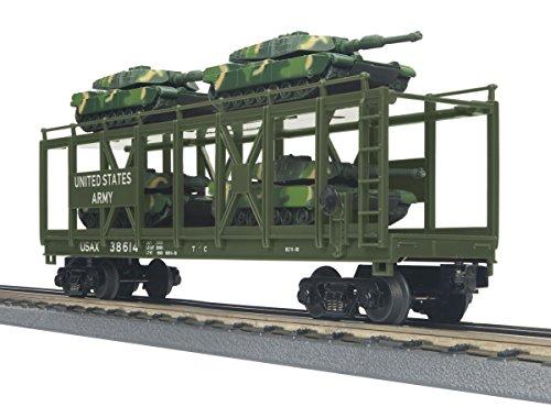 Mth Flat Car (MTH Auto Carrier Flat Car w/(4) Mini Battle Tanks U.S.)