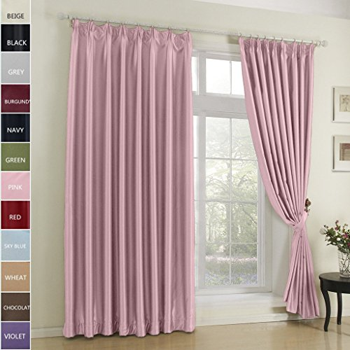 FirstHomer Pinch Pleat Solid Window Treatment Thermal Insulated Blackout Room Darkening Curtains / Drapes for Bedroom,72 Inch Wide By 84 Inch Long,Pink(One Panel) (Pink Top Tab Curtains)