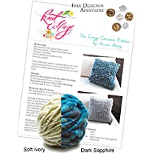 Create Your Own Knit Collage Cozy Cocoon Pillow Kit 12 x 12 Inches (Plus Free Designer Additions!) (Pixie Dust Dark Sapphire and Sister Yarn Soft Ivory)