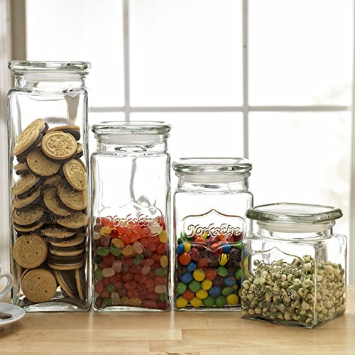 (Set of 4 Glass Canister Jars with Air Tight Lids for Kitchen or Bathroom, Food, Cookie, Cracker, Storage Containers, Square, Clear 28, 44, 57, and 80 Oz)