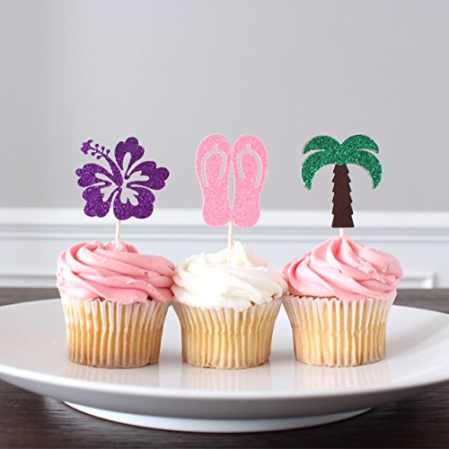 Hawaiian Luau Glitter Cupcake Toppers, Hibiscus Flower, Palm Tree, Flip Flops, Pack of 12