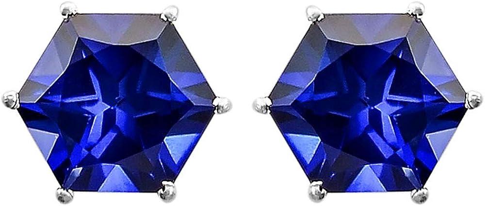 Blue Sapphire Stud Hexagon Shape 925 Sterling Silver Earrings Jewelry DGE1007/_G