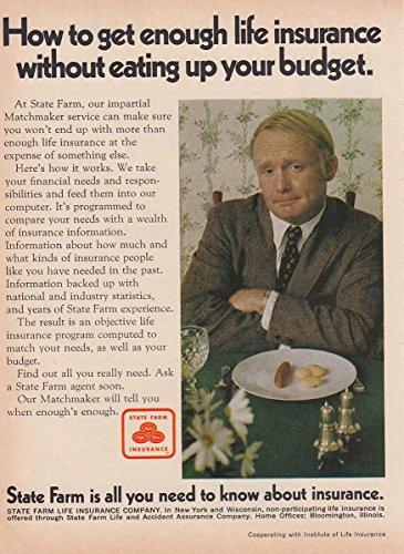 1970 State Farm Insurance  Get Enough Life Insurance  State Farm Insurance Print Ad
