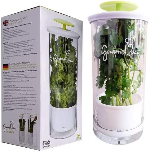 Glass Herb Keeper - Anti-leakage fresh herb container - Free paleo recipe eBook - Herb storage holder keeps herbs fresh and green for up to 2 Weeks