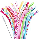 "30 Pieces Reusable Bent Plastic Straws,BPA-Free,9"" Colorful Printing Hard Platic Stripe Drinking Straw for Mason Jar Tumbler,Family or Party Use,Cleaning Brush Included"