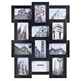 photo collage frames large - VonHaus 12 x Decorative Collage Picture Frames for Multiple 4x6 Photos - Black Wooden Hanging Wall Photo Frame