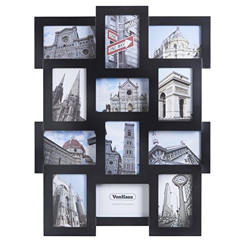 vonhaus 12 x decorative collage picture frames for multiple 4x6 photos black wooden hanging wall photo frame