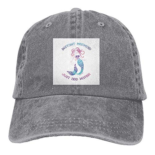 Jiuyuan Art Mermaid Baseball Cap for Men Women Adjustable Unisex Plain  Denim Dad Hats 389d99d83883