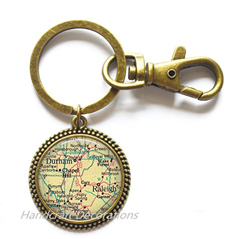 Charming Keychain Raleigh, North Carolina map Key Ring, Durham map Key Ring, map jewelry, map Keychain, A0082
