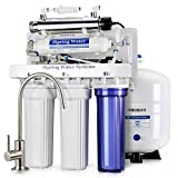 iSpring RCC1UP RCC1UP-N 6 Stage 100 GPD Maximum Performance UnderSink Reverse Osmosis Drinking Water Filtration System With Booster Pump And UV Sterilizer White