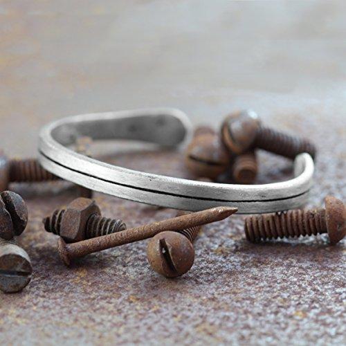 Carpe Diem Jewelry Personalized Cuff Oxidized Silver Mens