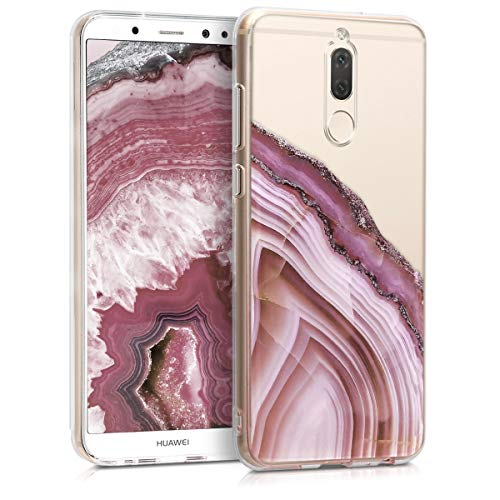 Antique Transparent (kwmobile TPU Case for Huawei Mate 10 Lite - Soft TPU Silicone Cover - Crystal Clear Back Case IMD Design - Dark Pink/Antique Pink/Transparent)