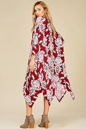 Swing Comfy Porcelain Sleeve Batwing Tunic Garnet 4 Women's Print 3 Annabelle Dolman Dresses gnaqBw85
