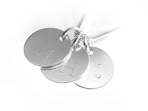 Moderne Initialen Kette, 925 Silber, Drei Runde Anhänger