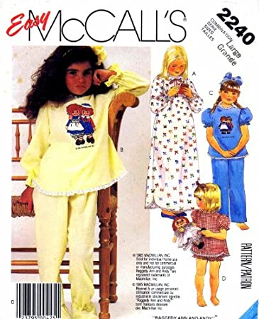Pajamas with Permanent Multi-Color Transfer McCall/'s 7749 Girls/' Nightgown