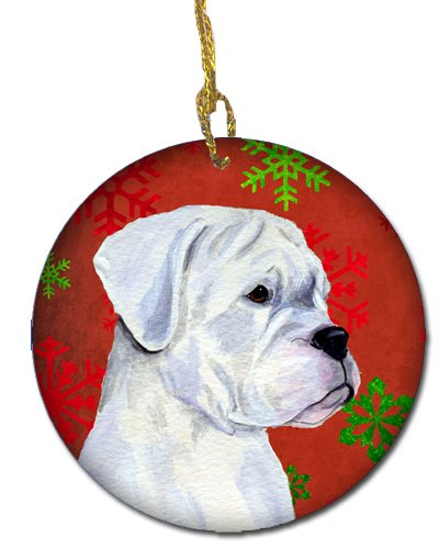 Caroline's Treasures SS4716-CO1 Boxer Red Snowflakes Holiday Christmas Ceramic Ornament, Multicolor