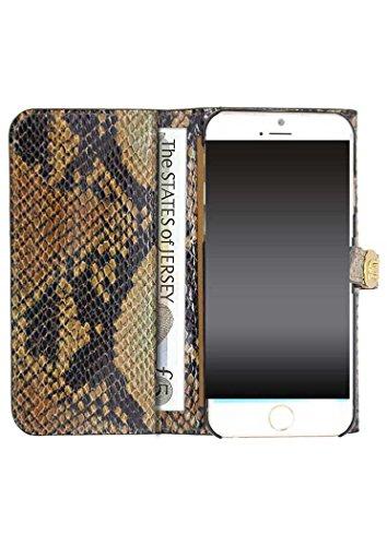 Uunique Luxe exotique Serpent Marron clair Folio Étui portefeuille pour iPhone 6/6S