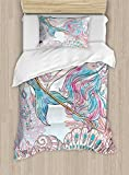 Ambesonne Mermaid Duvet Cover Set Twin Size, Cartoon Mermaid in Sea Sirens of Greek Myth Female Human with Tail of Fish Image, Decorative 2 Piece Bedding Set with 1 Pillow Sham, Pink Blue